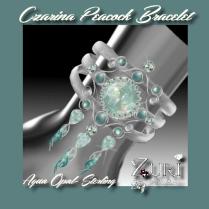Zuri Rayna~Czarina Peacock Bracelet-Aqua Opal