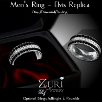 Men's Ring - Elvis Rep- Onyx_Dia_Sterling