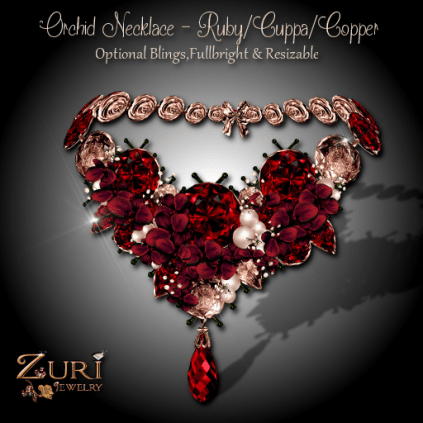 Zuri Rayna - Orchid Necklace - Vintage Ruby_Cuppa_Copper PIC
