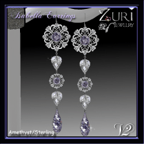 Zuri Rayna~Isabella Earrings V2- Amethyst_SterlingPIC