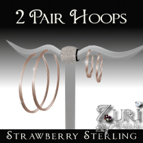 Zuri Rayna~Strawberry Gold Hoops-2 PairPIC