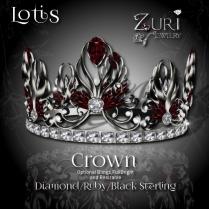 Zuri Rayna - Lotis Crown - Diamond_Ruby-Blk Sterling