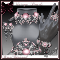 Zuri Rayna- Vintage Pearl Collection-Rose-Diamond