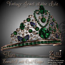 Zuri's Vintage Jewel of the Isle Tiara Emerald_Parrot_Copper