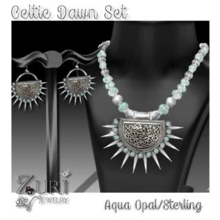 Celtic Dawn-Aqua Opal Sterling Set