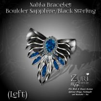 Nahla Bracelet - (L) Boulder Sapphire-Black Sterling