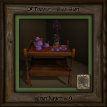 Spring Purple Tea and Trolley for Two w Plant