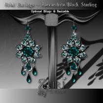 Zuri Rayna~ Ariel Earrings - Alexandrite-Blk SterlingPIC