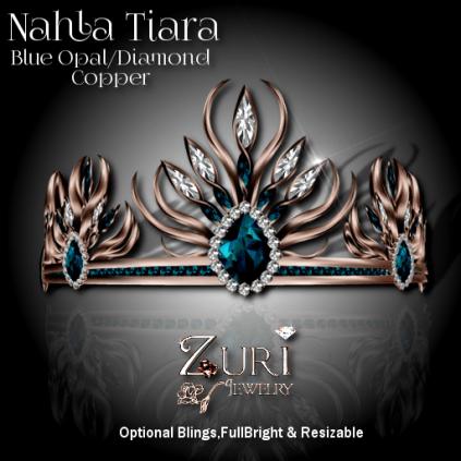 Zuri Rayna- Nahla Tiara - Blue Opal_Diamond_CopperPIC