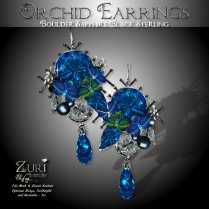 Orchid Earrings - Boulder Sapphire_Black Sterling