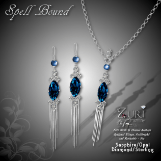 Spell Bound Set - Sapphire Opal_Dia_Sterling