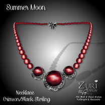 Summer Moon Necklace - Crimson_Black Sterling