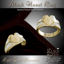 Zuri Rayna -Partial Mesh Heart Ring - Light Gold_DiamondPIC