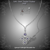 Celtic Tangled Heart Pendant-Sterling_Plum-Lg
