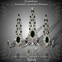 Snowdrops Tiara - Emerald_Lavender_Bronze