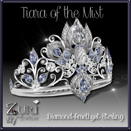 Tiara of the Mist- Diamond-Amethyst-Sterling