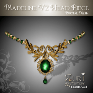 Zuri Rayna - Madeline Headpiece V2-Emerald-GoldPIC