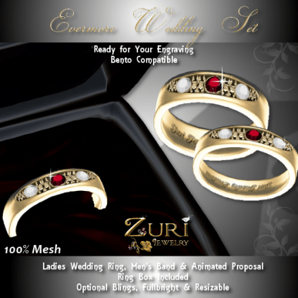 Evermore Rings Set - Garnet-Diamond-Gold