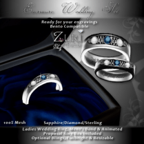 Evermore Wedding Rings Set - Sapphire_Dia_Sterling