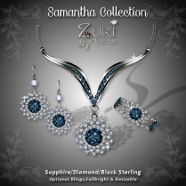 Samantha Collection - Sapphire-Dia-Blk Sterling