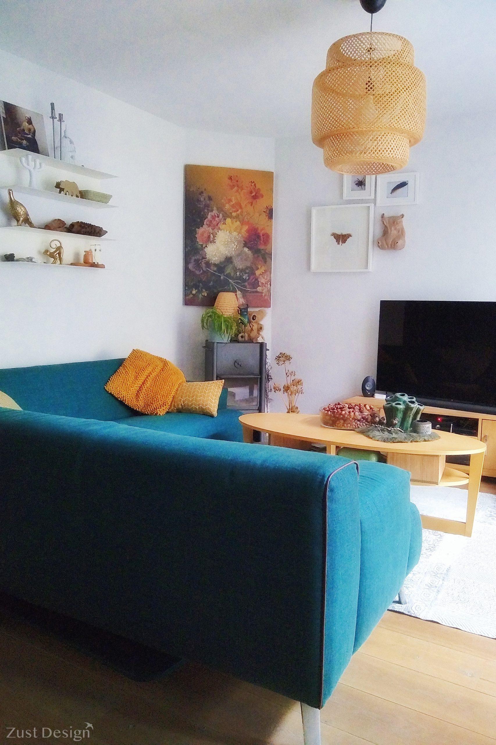 kleurrijke en natuurlijke woonkamer