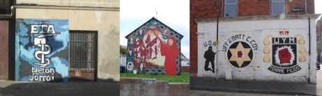 ETA, IRA eta UDAren aldeko horma irudiak. CC-by The Klan & Belfast Murals.