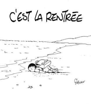 aylan motxilarekin - - Charlie Hebdo aldizkarikoak
