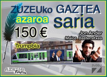 Jon Ander Maiozek irabazi du azaroko Zuzeu Gaztea Saria