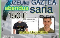 Iñigo Perezek eskuratu du abenduko Zuzeu GAZTEA saria