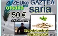 Jokin Bergarak irabazi du otsaileko Zuzeu GAZTEA saria
