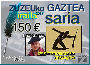 Unai Garciak irabazi du iraileko Zuzeu GAZTEA Saria