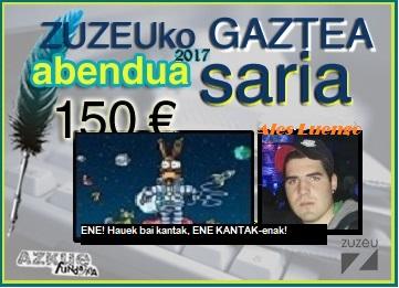 Ales Luengok erdietsi du abenduko Zuzeu GAZTEA Saria