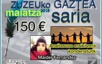 Maider Fernandezek erdietsi du maiatzeko Zuzeu Gaztea Saria