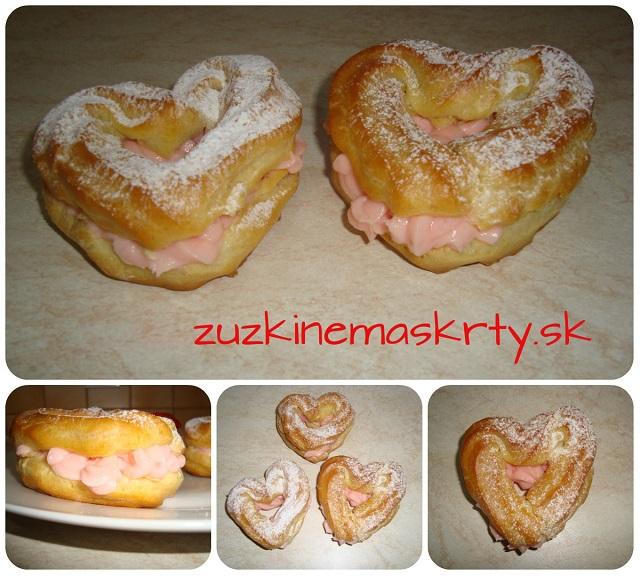 Valentínske srdiečka s jahodovým krémom