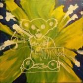 """16"""" x 16"""" Acrylic on Canvas Painting - Grateful Dead Dancin' Bear"""