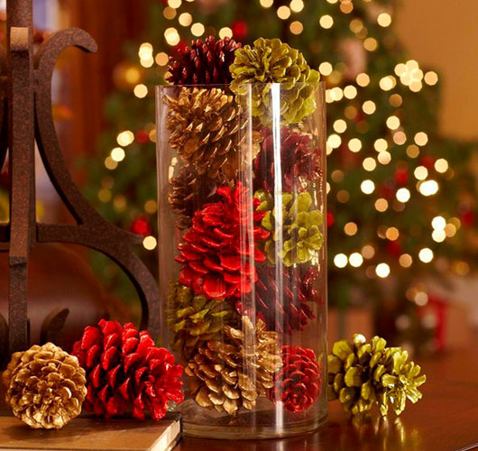The photo shows - DIY Christmas decorations, fig. Colored cones