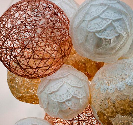 На фото изображено - Необычный декор: шары из нитей, рис. Шары декор