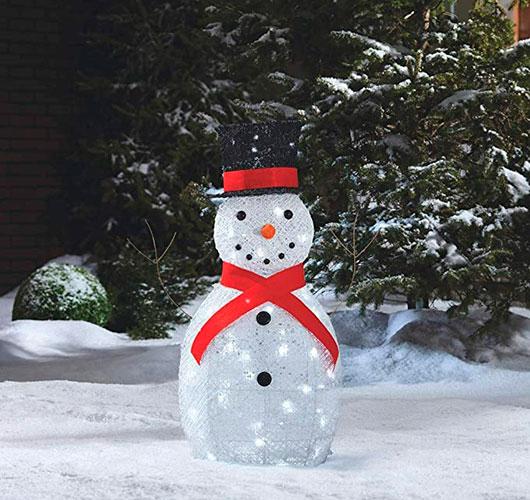 На фото изображено - Необычный декор: шары из нитей, рис. Снеговик