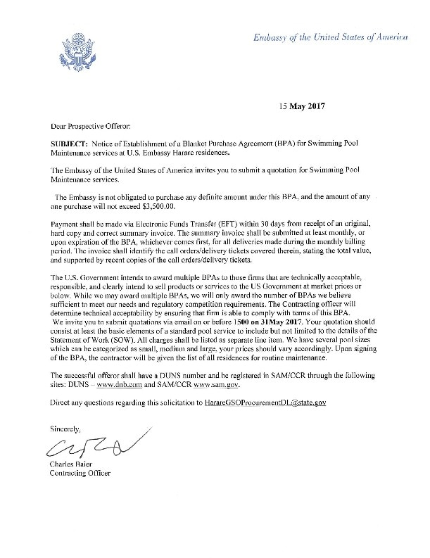 Signed Cover letter  US Embassy in Zimbabwe