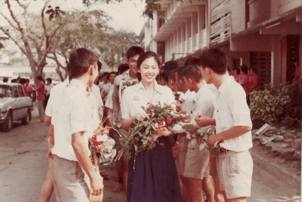 Yingluck [18 years] during orientation day - 1985 Crown College