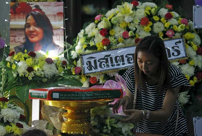 Funeral for Waraporn Changtam, a Thai victim from Monday's bomb blast at a temple in Nonthaburi province