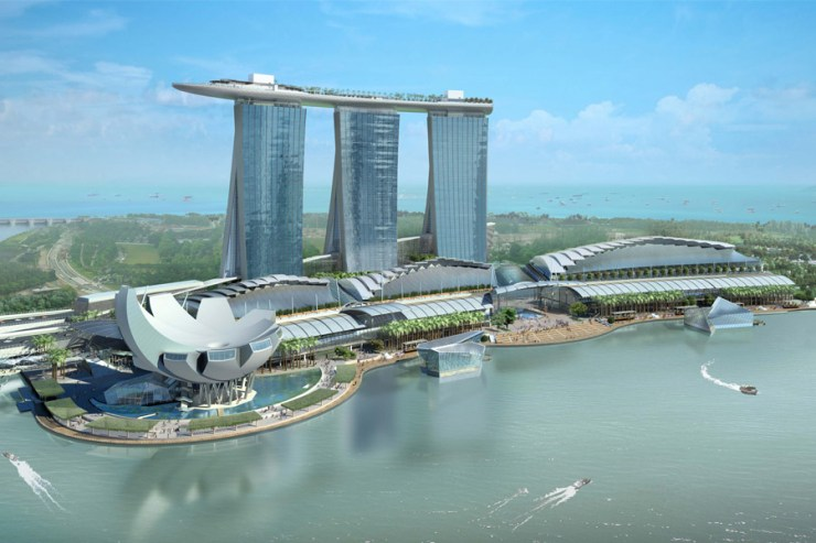 Designed by Israeli-born architect Moshe Safdie, the US$5.7-billion. Marina Bay Sands is the second most expensive building in the world. The building, with its 57-storey towers topped by the SkyPark, has become a defining feature of Singapore's skyline since it was completed in 2010