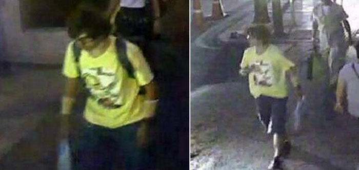 The man was filmed on CCTV near the Erawan shrine. He was first wearing a backpack, and later appeared without it. Thai police are now hunting for him
