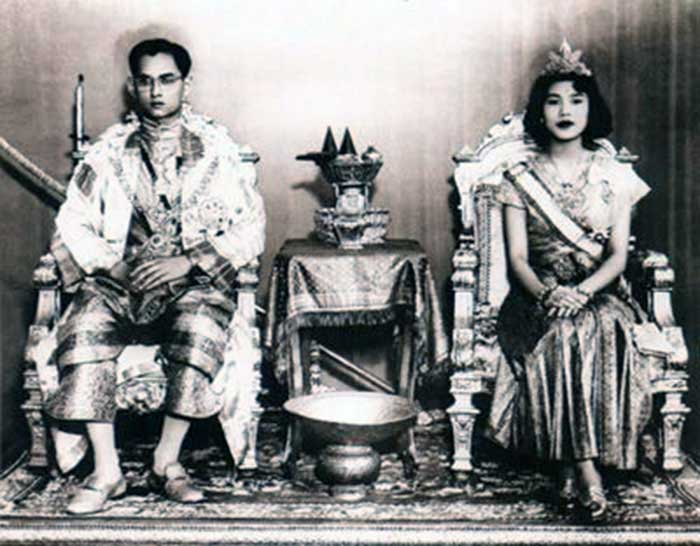Bhumibol married Sirikit on 28 April 1950, just a week before his coronation.