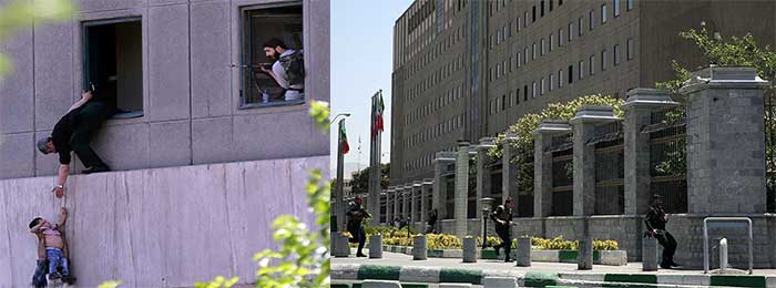 A-man-hands-a-child-to-a-security-guard-from-Iran's-parliament-building-after-an-assault-of-several-attackers,-in-Tehran,-Iran,