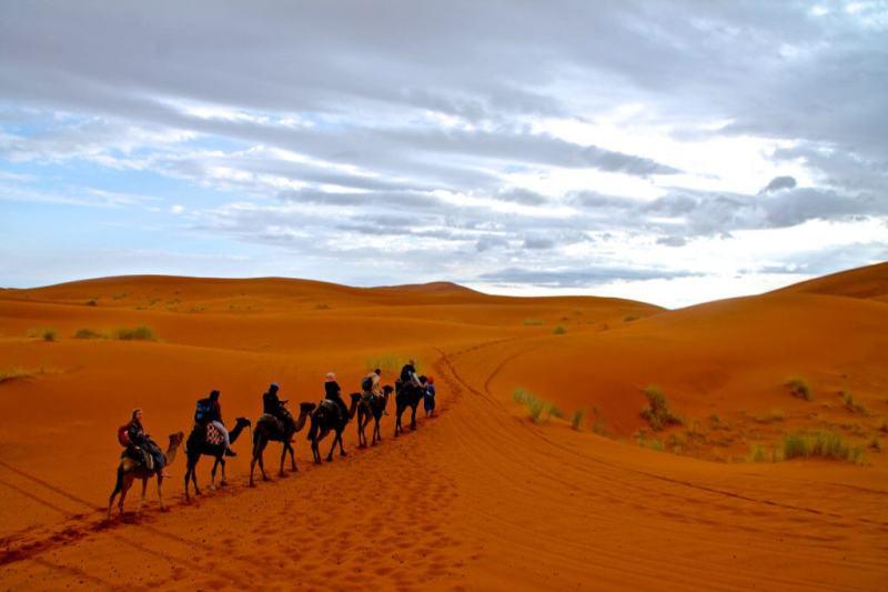 Unsere kleine Gruppe auf dem Weg zu unserem Lager mitten in der Wüste