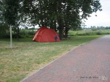 Unser Zelt auf dem WasserWanderRastplatz in Pasewalk