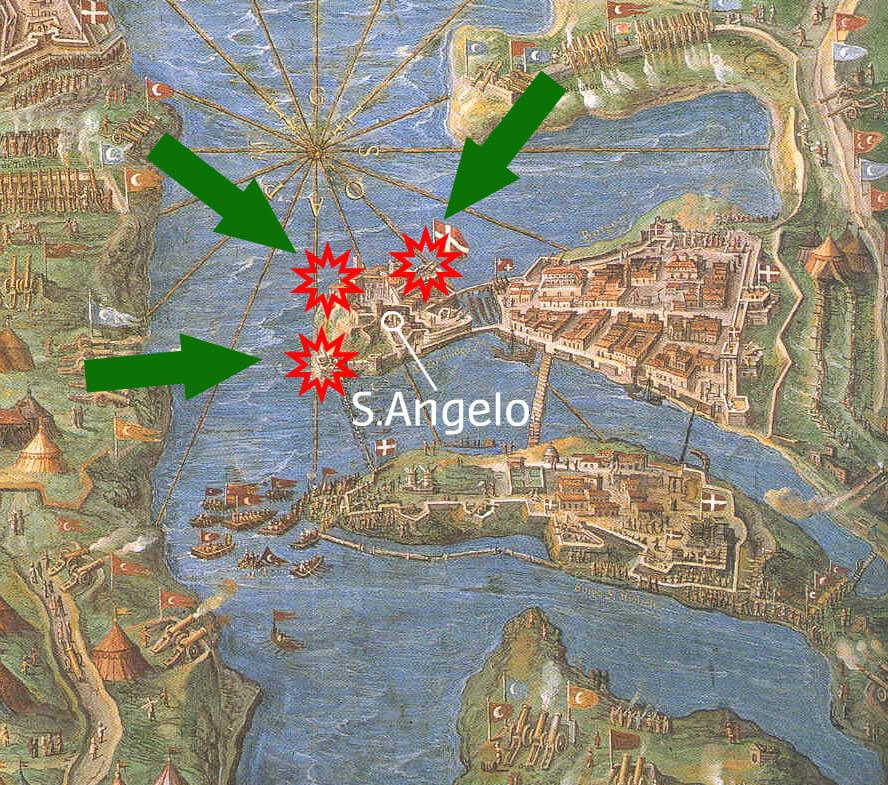 Le linee di tiro dell'artiglieria turca su S.Angelo