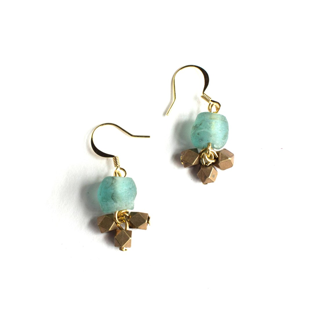 Seafoam Glass and Hexagon Tassel gold