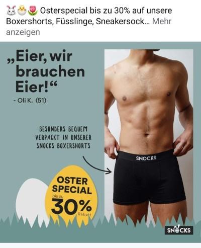 Werbung für Boxershorts mit Kahn-Zitat. Eier wir brauchen Eier!